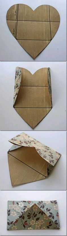 How to: a (heart) Envelope / diy / invitation Envelope Diy, Heart Envelope, Envelope Book, Envelope Tutorial, Envelope Pattern, Origami Envelope, Envelope Design, Fun Crafts, Diy And Crafts
