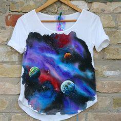 космическая футболка, ручная роспись акрилом
