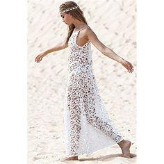 Janecrafts Women's Bathing Suit Lace Crochet Sleeveless Hollow Bikini Swimwear Cover Up Maxi Long Beach Dress Sundress - Authenz Shop