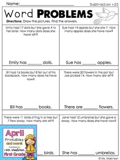 Word problems - spring math printables kindergarten math, multiplication, w Math Tutor, Teaching Math, Kindergarten Math, Teaching Resources, Math Story Problems, Word Problems, The Words, Curriculum, Homeschool