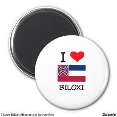 I Love Biloxi Mississippi 2 Inch Round Magnet