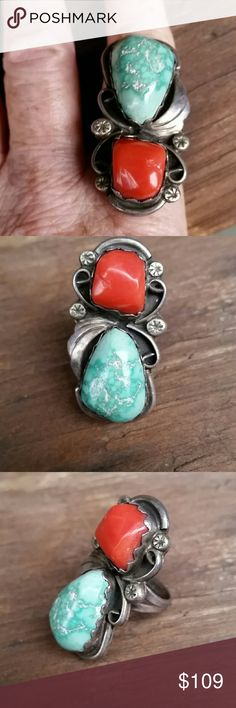Vintage Sterling Silver Turquoise Ring Beautiful huge real turquoise and coral size 7.5. Vintage Jewelry Rings