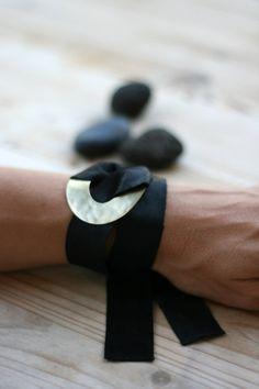 Black Leather Wrap Bracelet Leather Bracelet by EleannaKatsira