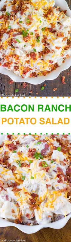 Creamy bacon ranch potato salad deliciously sprinkled newest recipes pinter Side Dish Recipes, Great Recipes, Dinner Recipes, Favorite Recipes, Yummy Recipes, Yummy Food, Bacon Recipes, Potato Recipes, Vegetable Recipes