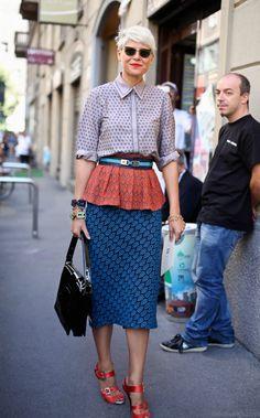 Elisa Nalin at Milan Fashion Week. I like the patterns, not the shoes. Fashion Week, Look Fashion, Fashion Outfits, Womens Fashion, Fashion Trends, Milan Fashion, Fall Outfits, Summer Outfits, Modest Fashion
