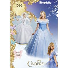 These authentic Disney Cinderella and Fairy Godmother costumes for Misses are sure to be a head turner. Each dress has a separate bodice and skirt. Fairy Godmother also has wings and collar. Disney Princess Collection, Simplicity sewing pattern.