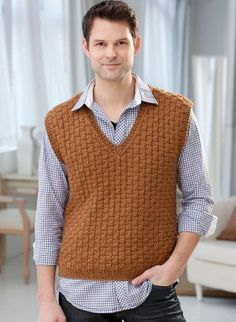 Classic Men's Vest   AllFreeKnitting.com