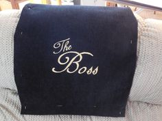 Recliner Headrest Cover Machine embroidered  The Boss  Custom Orders. Gold thread embroidery on & Recliner Cap Chair Hd Cover Headrest Pad for Furniture Std Two ... islam-shia.org