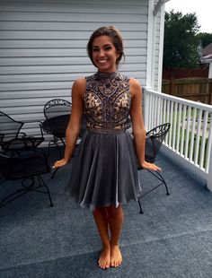 Dark Grey Short Chiffon Homecoming Dresses Crystals Women Party Dresses