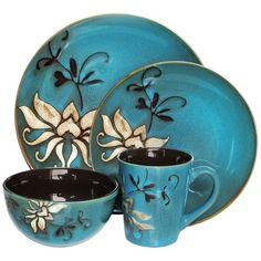 I pinned this 16 Piece Mirabel Dinnerware Set in Blue from the Art of Global Dining event at Joss and Main!