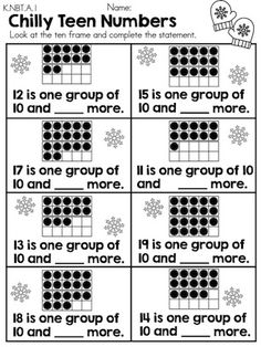 Chilly Teen Numbers >> Part of the Winter Kindergarten Math Worksheets packet I want to use this for circle time Kindergarten Math Worksheets, Teaching Math, Math Activities, Winter Activities, Art Worksheets, Teen Numbers, Math Numbers, Decomposing Numbers, Math Stations