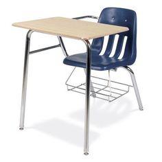 "Virco 9000 Series Plastic 30"" Combination Desk Glides: Steel Glides, Desk Finish: Grey Nebula, Frame Finish: Char Black, Seat Color: Blueberry"