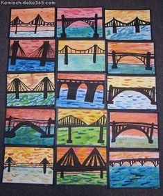 some of beautiful bridge silhouettes Lesson Background: My class. some of beautiful bridge silhouettes Lesson Background: My class have been engaged in a Technology unit for the past few week. Third Grade Art, Grade 3 Art, 7 Arts, Ecole Art, Cool Art Projects, Art Club Projects, Art Lessons Elementary, Art Lesson Plans, Art Classroom