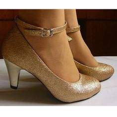 Ladies Sparky Champagne Comfortable Ankle Strap Medium Heel Wedding Evening Party Shoes SKU-1090023