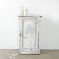 Vintage Cream & Grey Door Cabinet l Rachel Ashwell Shabby Chic Couture l Shabby Chic