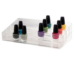 """US Acrylic® Clear Multi-Level Nail Polish Organizer (080844058184) Sturdy clear organzier keeps all of your nail polish bottles in one location. Holds up to 40 standard size bottles. Multi-level allows for easy viewing and access to each bottle. Clean and clear design fits in any decor! Dimensions: 12-1/4""""L x 6""""W x 3-1/8""""H"""