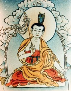 Gyalwa Chogyang, one of the first seven monks trained by Shantarakshita, one of the eight main disciples of Guru Padmasambhava. Mastering the horse of no-action, he radiated the light of Amitabha transforming his body into a raging fire, his crown emitting the whinny of stallions.  Received Hayagriva transmission from Padmasambhava, practiced in solitude and reached the level of a vidyadhara, completely merging his mind with the state of absolute freedom.