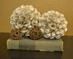 Paper flower ball event and wedding ideas pinterest flower vintage book paper flowers roses rosette decorative balls orbs home or wedding decoration 1750 mightylinksfo