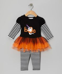 With a richly embroidered design, comfy fit and adorable tutu skirting, this precious dress and leggings set will turn any day into a festive delight.