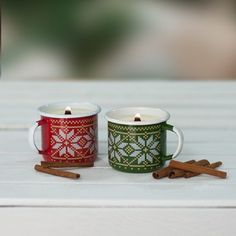 CINNAMON CANDLES IN SET OF 2 | CHRISTMAS MATCH - Emalco Enamelware
