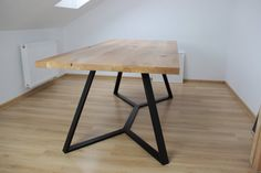 Oak and steel Y dinning table SOLD