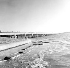 Sanibel causeway was built to replace the ferry in May 1963 this is a photo of 1965.  Photo from 1969