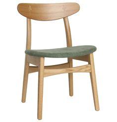 Asger Fabric Dining Chair in Oak - Matt Blatt