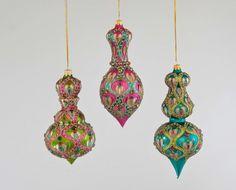 "Katherine's Collection La Fete Boheme Collection Six Assort 7"" Bohemian Embellished Dangle Glass Ornaments Free Ship"