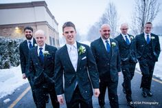 This handsome group of men brave the cold and head outside the Crystal Ballroom to take some photos in the falling snow. www.CrystalBallroomNJ.com. Photo courtesy of VESA Photography. #NJWeddings #WeddingsNearFreehold #CrystalBallroom #Radisson #Bride #Groom #Weddings #CentralNJWeddingVenue #NJWeddingVenue #WeddingPhotography #NJBanquetHall #NJWeddingVenue