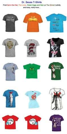 Seuss T-shirts. Make your Read Across America program fun for both you and your students. Dress up as one of Dr. Character Dress Up, Book Character Day, Book Character Costumes, Dr. Seuss, Dr Seuss Week, Dr Suess Characters, Book Characters, Dr Seuss Costumes, Seussical Costumes