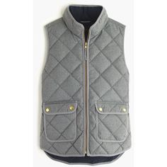 J.Crew Excursion quilted vest in flannel ($128) ❤ liked on Polyvore featuring outerwear, vests, jackets, coats, casacos, petite vests, quilted zip vest, down vest, zipper vest and vest waistcoat