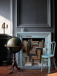 fireplace, walls, books