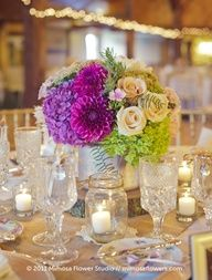 vintage centerpieces wedding tables | Centerpieces was in a different tin/metal container. Love the vintage ...