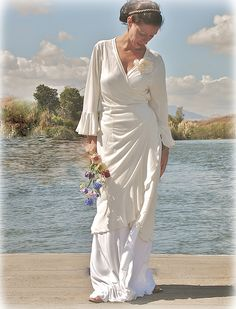 """""""Verity Hope"""" Wrap Dress in ivory bamboo viscose, with flounce skirt in white - by Susannah Dashwood 'Effortless Elegance', 2010"""