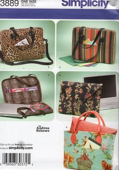 Simplicity 3889 Sewing Pattern Free Us Ship Andrea Schewe Messenger Computer Laptop Bag Purse Handbag Clutch Purse New 2007 by LanetzLiving on Etsy