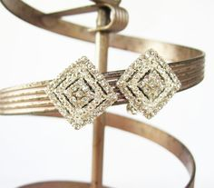 Vintage Shimmering Diamond Rhinestone and Silver Clip On Earrings - Vintage Jewelry by FembyDesign, $17.25