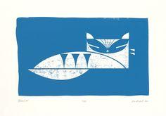biroRobot's 'Blue Cat' screen print.
