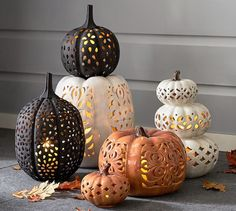 Filigree Punched Ceramic Pumpkins #potterybarn