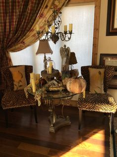 Leopard chairs display