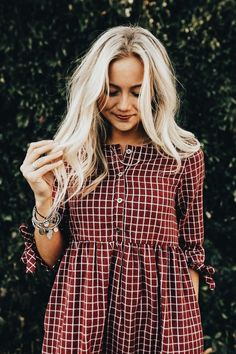 """Burgundy + White Plaid Dress Sleeve + Ribbon Tie Cuff Button Up Front Gather. - """"Fashions fade, style is eternal. Mode Outfits, Fall Outfits, Summer Outfits, Casual Outfits, Fashion Outfits, Fall Fashion, Fashion Hacks, 2000s Fashion, Dress Casual"""
