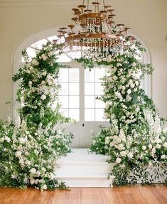 Romantic Greenery Filled New Orleans Wedding with Romantic Details - MODwedding Wedding Arbors, Wedding Ceremony Backdrop, Ceremony Arch, Wedding Aisles, Wedding Backdrops, Wedding Ceremonies, Wedding Reception, Mod Wedding, Floral Wedding
