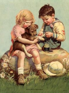 "Vintage Illustration - Frances Tipton Hunter ~ ""Friends Indeed"". Images Vintage, Vintage Dog, Vintage Children's Books, Vintage Pictures, Vintage Cards, Vintage Postcards, Vintage Prints, Children's Book Illustration, Dachshund"