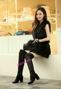 new 2014 women genuine leather shoes brand thigh high boots women boots high heel C