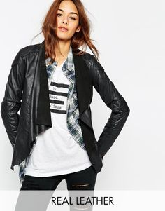 ASOS Leather Jacket with Waterfall Front and Quilt Detail
