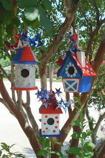 Creative Life Engagement Activities for Seniors Decorative Bird Houses, Bird Houses Painted, Painted Birdhouses, Fourth Of July Decor, July 4th, Homemade Bird Houses, Birdhouse Designs, Bird Boxes, Diy Projects To Try
