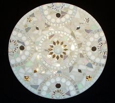 White scale with mirror and glass mosaic