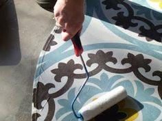 make a table cloth into a floor cloth using floor varnish!