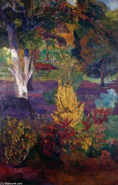 Marquesan Landscape with Horses by Paul Gauguin in oil on canvas, done in Now in a private collection. Find a fine art print of this Paul Gauguin painting. Paul Gauguin, Henri Matisse, Impressionist Artists, Paintings I Love, Art For Art Sake, Kandinsky, Pablo Picasso, Love Art, Landscape Paintings