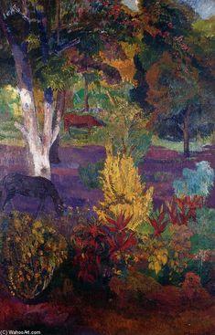 Paul Gauguin >> Marquesas Paisaje con un caballo  |  (oleo, obra de arte, reproducción, copia, pintura).