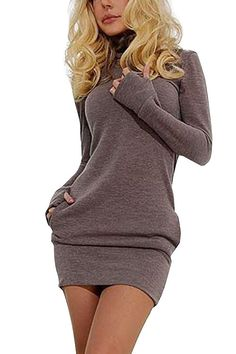 Light Coffee Roll Neck Causal Dress with Two Side Pockets